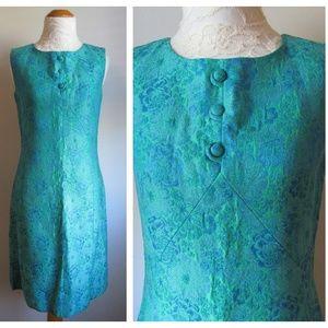 Vintage '60s Brocade Tapestry Wiggle Dress